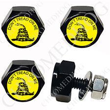 4 Black Billet Aluminum License Plate Frame Fastener Hex Bolt - Dont Tread On Me