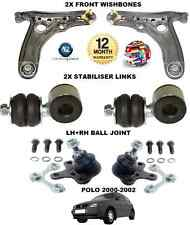 FOR VW POLO 2000-2002 2 WISHBONE ARMS 2 LINK BARS 2 BALL JOINT SUSPENSION KIT
