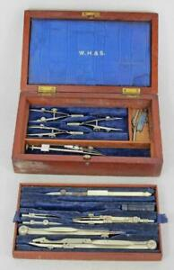 FINE ANTIQUE DRAWING ARCHITECTS ENGINEERS INSTRUMENT SET circa 1880-1900