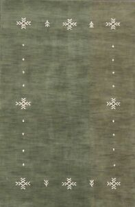 Bordered Green Gabbeh Hand-knotted Oriental Area Rug Modern Wool Carpet 4'x6'