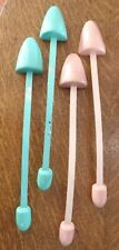 1940's 2 Pairs Wood Metal Shoe Trees Shapers Stretcher Pink Blue Colors VGVC