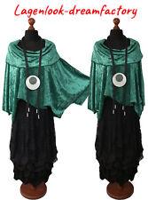 myo- Lagenlook big-pulli asimmetrico scollo a barchetta velluto Smeraldo XXL,