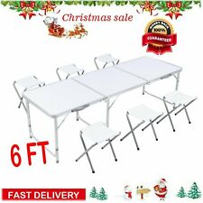 6 Ft Folding Table+ 6 Chairs Aluminium Alloy Indoor Outdoor Camping Picnic Party
