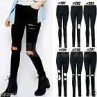 Women Denim High Waist Skinny Ripped Pants Stretch Jeans Slim Pencil Trousers