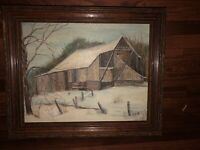 Original Oil Painting Barn In Winter Scene Signed ROH 8 X 10