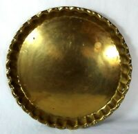 Vintage Large Brass Round Server Bar/ Drink/ Vanity Tray Scalloped Edges 14 1/2""