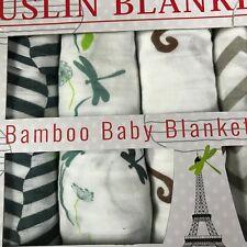 "La Libellule BeBe Muslin Baby Blankets 43"" x 43"" Bamboo 4 Pack NEW Girl or Boy"