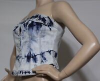 GUESS TOPS STRAPLESS NEW WOMEN'S STRETCH SZ M BLUE MULTI