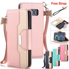 Samsung Galaxy S20+ S9 S8 S7 Note 10+ Wallet Case Leather Stand Flip Phone Cover