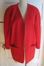 Womens Lee David Wool 80s 90s Collarless Open Front Blazer Jacket 10 Vintage Red