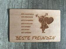 Grußkarte aus Holz Geschenk Karte Geschenkkarte Beste Freundin Freundinnen