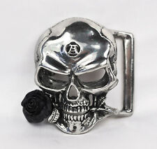 The Alchemist Belt Buckle - Alchemy Gothic Skull & Rose Alchemical Totem