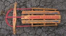 "VINTAGE WOOD SLED Champion Fastback by Gladding  45"" With Floating Steering"