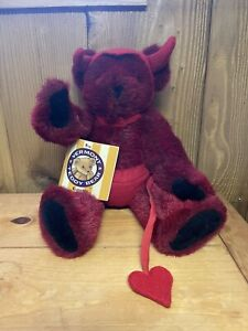 "Vermont Teddy Bear Plush Poseable Valentine Devil Red fur Bear 16"""