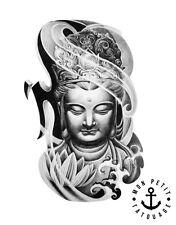 ►► Tatouage Temporaire Ephèmère Réaliste Tête de Bouddha Lotus Tattoo ink