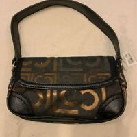 Liz Claiborne Womens Shoulder Bag Black Geometric Snap Sling Pockets Small New