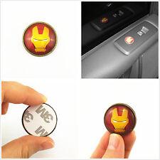 Car Interior Window Button Lids Iron Man Button Shape Metal Epoxy Sticker Badge