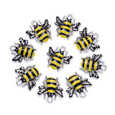 10pcs Cute Alloy Enamel Honeybee Pendants Platinum Tone Dangle Charms Craft 18mm