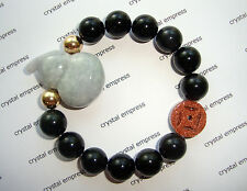 Feng Shui - Jade Wu Lou & I-Ching Coin with 12mm Black Obsidian