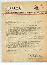 Vintage Illustrated Letterhead TROJAN AUTO PRODUCTS Los Angeles CA 1931