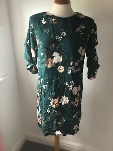 DOROTHY PERKINS GREEN FLORAL TEA DRESS FRILL SLEEVES SIZE 8