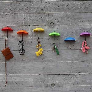 HOT 3Pcs Creative Umbrella Shape Wall Mount Hook Key Holder Hanging Ho FgP0U P2