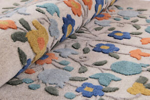 Handmade Floral high Low Pile Multi Color Wool Area Rug 8' x 10'