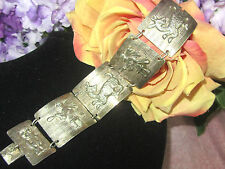 VINTAGE antique  STERLING SILVER Peruvian TRIBAL panel BRACELET Cuff SIGNED