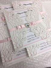 NUOVO Personalizzata / realizzata a mano lusso LASER CUT diamante wedding invitation