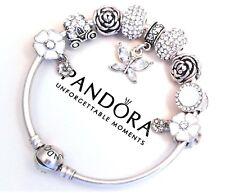 Authentic Pandora Silver Bangle Bracelet With White Flowers European Charms...