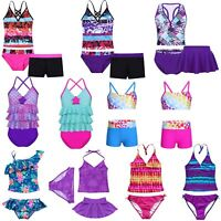 Girls 2PCS Tankini Swim Suit Swimwear Swimming Costume Beach Wear Ages 2-16 Yrs