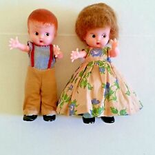 "Kewpie Celluloid Couple 6"" With Rattle Knickerbocker Plastic Dolls"