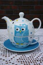 """Zauberhaft: Tea for One  """" Blaue Eule """", 3-teiliges Set aus Qualitätsporzellan"""