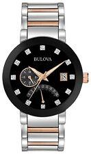 Bulova Men's Black Dial Two Tone Silver/Rose Gold Tone Bracelet Watch  98D129