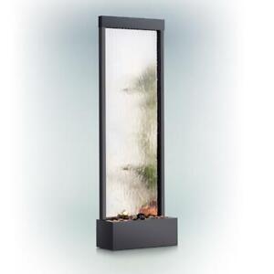 Mirror Waterfall Fountain Stones Lights 2-Tiers Stainless Steel Pump Black