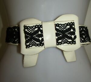 ALANNAH HILL Black & White Leather Bow Detail Belt Size Medium M