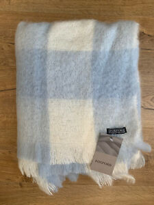 NEW FOXFORD SUPERSOFT BLENDED MOHAIR THROW BLANKET BLUE