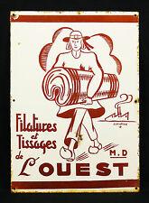 Bretagne : Filatures et tissage de l'ouest.Plaque émaillée J.DELATTRE publicité