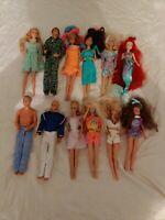 Vintage Barbie & Ken Dolls Lot of 12 Mostly 1990s, Some Disney, Good Condition