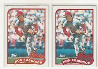 RON ROBINSON 1989 Topps  #16 Error/Variation Light/Dark Banner Reds 2 Versions