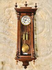 Antique Germaney Schuyz Marke Vienna Strike Wall Clock,2 Weights Driven Works