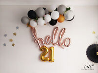 Rose Gold Balloons Letters Silver Birthday Party Custom Wedding Hello 21 Script