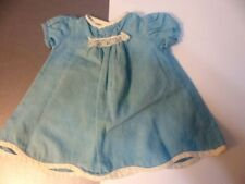 Vintage 1950's Blue Cotton homemade Dress Doll clothes Med Size