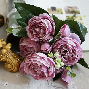 1 Bouquet Artificial Fake Peony Silk Flower Bridal Hydrangea Pretty Home Decors
