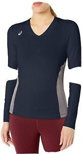 ASICS bt3279 Decoy Womens Top Athletic T-Shirt Long Sleeve - Black & Grey NWT Lg