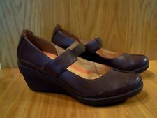Clarks Ladies Shoes Size 7 Mary Jane Brown Leather Wedge Heel Unstructured NEW