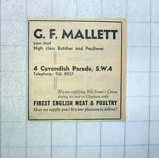 1960 Gf Mallett High-class Butcher Cavendish Parade Supply Billy Smart's Circus