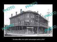 OLD LARGE HISTORIC PHOTO OF CRESTLINE OHIO, THE RAILROAD DEPOT STATION c1910
