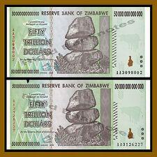 Zimbabwe 50 Trillion Dollars x 2 Pcs, 2008 AA Circulated = 100 Trillion Series