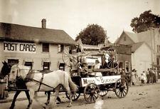 1900 era photo Glass Negative BLACKSMITH Wagon POSTCARD Shop Store Street Scene